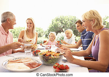 Extended family, parents, grandparents and children, eating outdoors