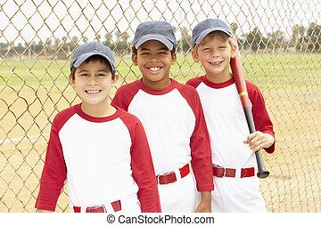 Young Boys In Baseball Team