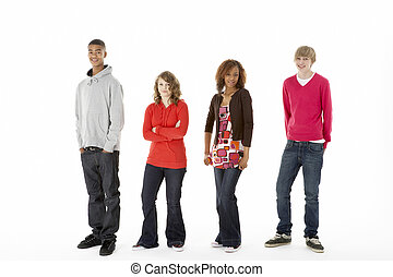 Group Of Four Teenagers In Studio