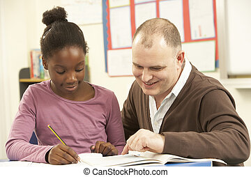 Female Pupil Studying in classroom with teacher