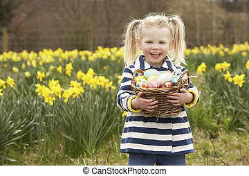 Young Girl Holding Basket Of Decorated Eggs In Daffodil Field