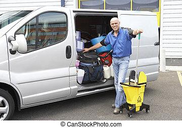 limpiador, posición, luego, furgoneta