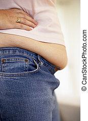 dettaglio, di, sovrappeso, donna
