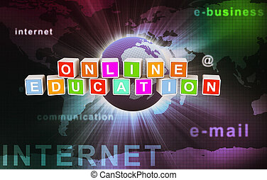 Online education - 3d colorful textbox of 'online education'...