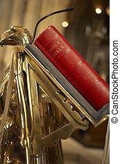 biblia, en, atril, en, Bristol, catedral