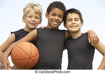 joven, niño, juego, baloncesto
