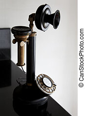 Old Bakelite black Candlestick telephone on black c - Old...
