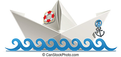 paper ship origami vector illustration isolated on white...