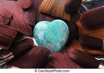 heart - A heart of gemstone with paintbrushes