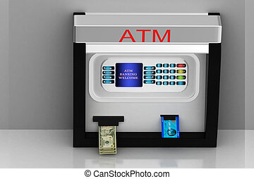 Atm machine - 	3d multi use ATM machine in grey background