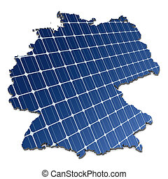 Solar cells an map of Germany - Mono-crystalline solar cells...