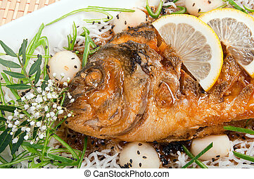 Dolphin fish dorado  .Chinese style