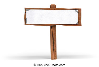 small wooden panel over white background A white paper is...