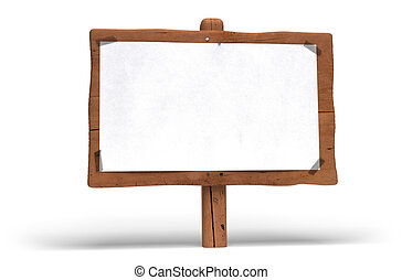 large wooden panel over white background. A white paper is fixed on the wood sign with plastic tape for writing communication message