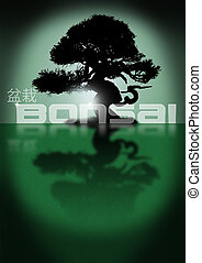 Bonsai tree silhouette on a green background with leather...