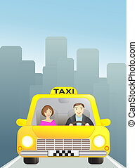 taxi with passenger in big city
