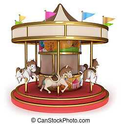 Carousel - 3D Illustration of a Carousel