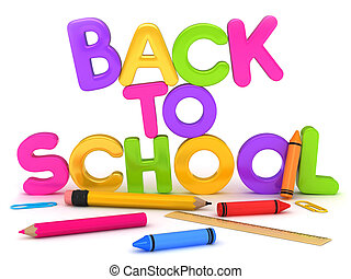Back to School - 3D Illustration of Back to School Items