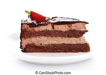 Slice of tasty chocolate cake with strawberry on top