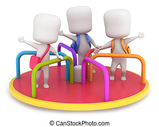 Merry Go Round Kids - 3D Illustration of Kids Playing in a...