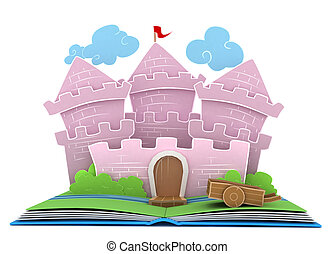 Kingdom Story - 3D Illustration of a Castle on Popup Book