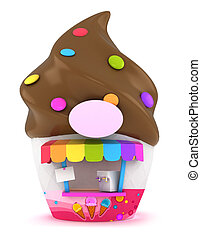 Ice Cream Store - 3D Illustration of an Funky Ice Cream...