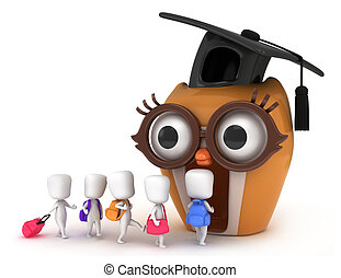 Back to School - 3D Illustration of Kids Going to Classroom