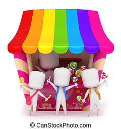 Candy Kids - 3D Illustration of Kids Holding Candies