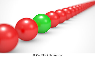 leadership concept, red and green balls