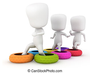 Obstacle Course - 3D Illustration of Kids Clearing an...