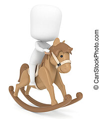 Rocking Horse - 3D Illustration of a Kid Riding a Rocking...