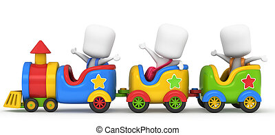 Kids on a Train - 3D Illustration of Kids on a Toy Train