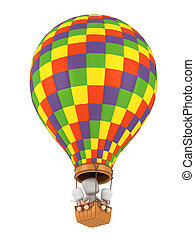 Hot Air Balloon - 3D Illustration of Parent and Kids Riding...
