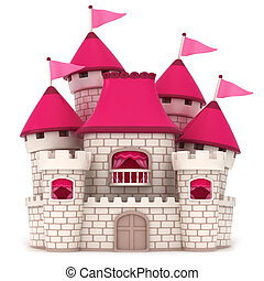 Castle - 3D Illustration of a Beautiful Pink Castle
