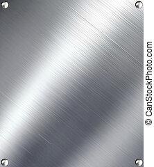 Brushed silver metal.