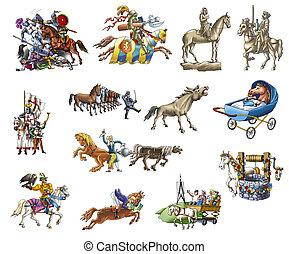 Horses - Hand cartoon horses (horse-breeding, knight, races)...
