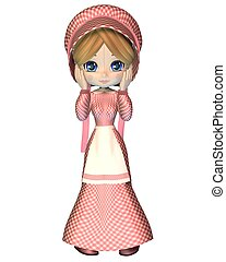 Rag Doll in Pink Gingham Dress and - Cute toon rag doll...