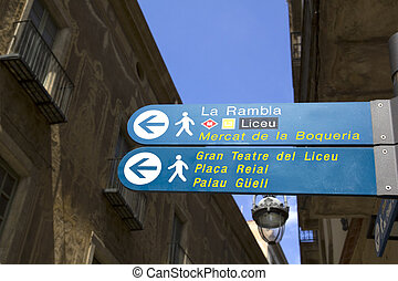 Sign in Barcelona - Sign indicating the Ramblas, the Liceu...