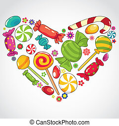 sweets candy heart - Vector illustartion of abstract sweets...