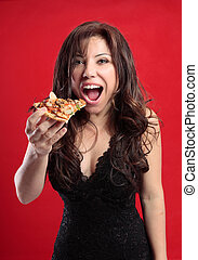 Female eating pizza