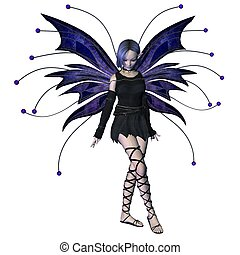 Winter Goth Fairy - 2 - Winter fairy in Goth style dress and...