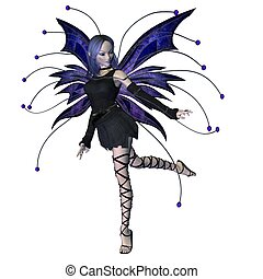 Winter Goth Fairy - 3 - Winter fairy in Goth style dress and...