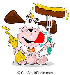 caricatura, cão, linguiça