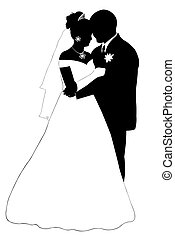 wedding couple silhouette isolated on white