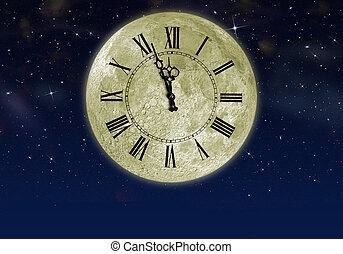 The moon with arrow clock in the star sky Concept eve of New...