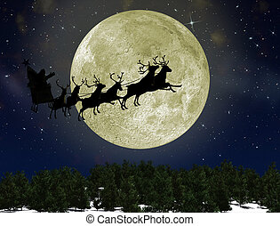 Santa Claus On Sledge With Deer against the bright moon....