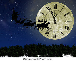 Santa Claus On Sledge With Deer against the bright moon with...