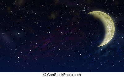 The half moon in the star sky. The detailed image