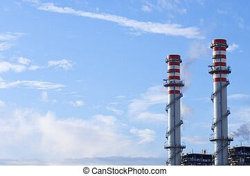 smokestacks of a power plant for electric energy production...