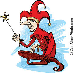 Court Jester - illustration of court jester in red costume
